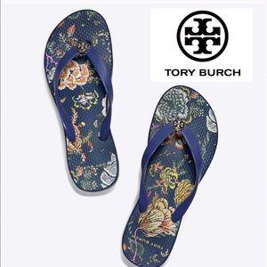 Tory Burch Shoes - Tory Burch Montauk Navy Happy Times Flip Flops